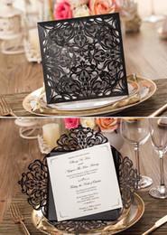 convites casamento Rebajas Al por mayor- Invitaciones de boda de la clase alta 2015 tarjetas de invitación de la fiesta de cumpleaños negro Convites De Casamento Impresión personalizada + Sobre