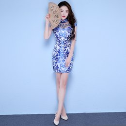 Wholesale Cheongsam Mini Skirt - Blue Silk Traditional Chinese Dress short Cheongsam Qipao Skirt Robe Chinoise Oriental Style Wedding Qi Pao Vintage Dresses