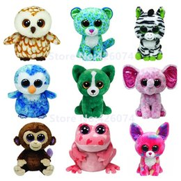 Wholesale Chihuahua Stuffed Animals - Wholesale-Ty Beanie Boos Big Eyed Stuffed Animals Owl Leopard Zebra Chihuahua Monkey Penguin Kids Plush Toys Children Gifts 15CM