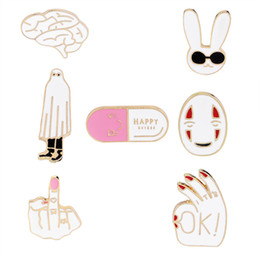 Wholesale white plastic party plates - Cartoon OK Mask Rabbit Middle Finger Brain HAPPY Capsule Brooch Pin Metal Enamel Pin Button Jacket Backpack Icon Badges Jewelry