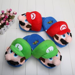 """Wholesale Luigi Toys - Wholesale-11"""" Super Mario Brothers Plush Doll Mario and Luigi Slippers toy winter indoor Slippers For Adult"""