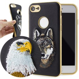 Wholesale Embroidery Cases Iphone - Embroidery Phone Case Soft TPU Cover For iPhone 7 galaxy s7 edge s8 s8plus PU Leather Back Cover