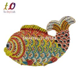 Wholesale Crystal Flower Clutch Purse - Wholesale- Stylish Animal Luxury Crystal Studded Evening Bag Fish Rhinestone Lady Clutch Banquet Bag Lovely Gold Party Purse pochette 88221