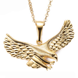 Wholesale rock stocks - SAYYID new brand European and American hip hop rock fashion necklace golden eagle pendant necklace copper necklace in stock