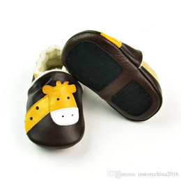 Wholesale Handmade Wool Shoes - Wholesale Genuine Leather Handmade Brown Deer First Walkers Spring Autumn paragraph warm wool baby shoes free shipping