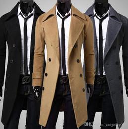Wholesale Slim Large Lapel Coat - Winter men 's fashion long paragraph woolen casual large size coat men' s windbreaker cashmere coat