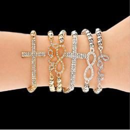 Wholesale Cheap Number Charm Beads - Fashion Classical Womens Bracelets LOVE Cross Eight Charm Bracelet Elastic Beads Bracelet Jewelry Cheap Small Gifts