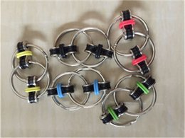 Wholesale Wholesale Fingertip Rings - 5pcs EDC Metal Fidget Key Ring Toy Hand Spinner Decompression Toys Fingertips Spiral Fingers Gyro Copper Toy for Autism and ADHD