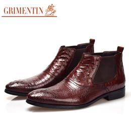 GRIMENTIN Heißer verkauf marke mens stiefel aus echtem leder straußenkorn schwarz braun formale männer stiefeletten für modedesigner kleid mens schuhe von Fabrikanten