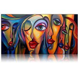Wholesale Pop People - Hand Painted Oil Painting People Sex Girl Big Eyes Wall Art Handmade Oil Painting Big Eye Girl Pop Art By Professional Artist