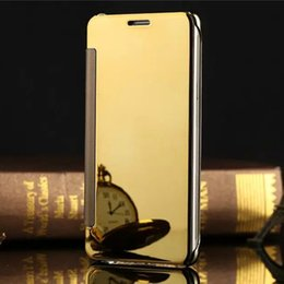 Wholesale Mirror Leather Wallet - Mirror Clear View Leather Flip Case Electroplate plated Transparent Wallet Cover for Samsung Galaxy S8 S6 edge Plus S7 iphone 6 7 plus
