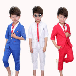 Wholesale Baby Boy Wedding Formal - Baby Prom Suits ( blazers + shirts + Pant ) Summer Wedding Flower Girls Dress Blue White Red Child Boy Party Suits