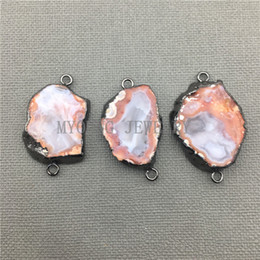 Wholesale Black Gun Charms - MY0410 Oval Orange Onyx Geode Druzy Slice Gun Black Plated Connector, Freefrom Agates Slab Necklace Making Pendant Charm