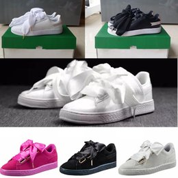 Wholesale White Silk Hot - hot sale suede basket heart satin black white and pink flat shoes casual shoes silk banded bow goddess shoes with box 36-40