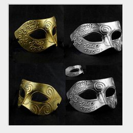 Wholesale Vintage Carnival - Costume Party Mask Halloween Men's retro Greco-Roman Gladiator masquerade masks Vintage Golden Silver Party Mask Carnival Mask