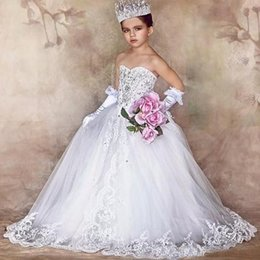 Wholesale Sweetheart Tulle Rhinestones - Stunning Luxury Little Brides Wedding Dress Bling Bling Crystals Beaded Lace Appliques Flower Girl Dresses Lace-up Back Lovely Bows Custom