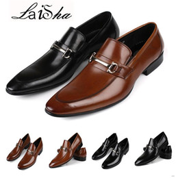 Wholesale Italian Business Shoes For Men - 2017 Mens dress shoes fashion Italian designer men casual shoes with buckle genuine leather black flats for business office size 39-44