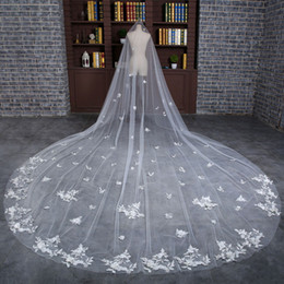 Wholesale Lace Pearls Wedding Veils - In Stock Luxury Bridal Veils 4 Meters Long Appliques Flowers Bows Wedding Veil Light Ivory Wedding Accessories Voile Real Photos 2017