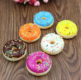 Wholesale Mini Cute Cell Phone - 5cm Cute Soft Mini Donut Cone Squishy Slow Rising Cell Phone Straps Bread Antistress Scented Key Pendant Charms Kids Toys