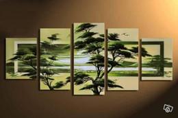 Puro paesaggio verde online-Incorniciato 5 pannelli primavera foresta verde campi, puro dipinto a mano moderna decorazione della parete pittura a olio di arte di paesaggio su tela. Formato su misura DHliveh