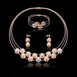 Wholesale Jewelrys Sets - Newest jewelry sets necklace earrings bridal jewelry sets crystal rose gold color jewelry findings crystal jewelrys set