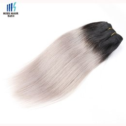 Wholesale Cambodian Mixed - 300g Two Tone T 1B Silver Grey Ombre Human Hair Weave Good Quality Colored Brazilian Silky Straight Hair Extensions Peruvian Indian Hair