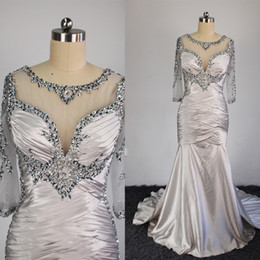 Wholesale Vintage Bridal Photos - 2016 Plus Size Mother of the Bridal Dresses with Mermaid V Neck 3 4Long Sleeves with Detachable Train Appliques and Beaded Evening Gown