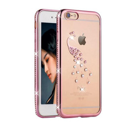 Wholesale Peacock Rhinestone Iphone Case - 3D Diamond Peacock Rhinestone TPU Case For X 7 6 6s Plus Transparent TPU Silicone Couvercle Full Protect Cases Cover