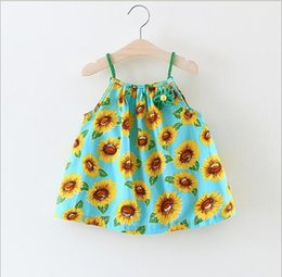 Wholesale Sunflower Style - 3 color hot selling Korean style 2017 new arrival girl summer cute sling Sunflower printting Dress high quality cotton dress free shipping