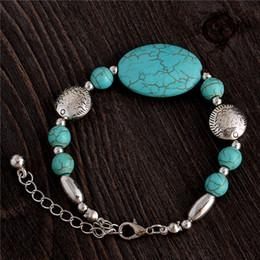 Wholesale Gold Turquoise Sets - Wholesale-Women Geometric Bohemia Bracelet Vintage Turquoise Chains BraceletS Jonc Femme Bangle Love Bracelet Bracciali Donna