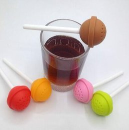 Wholesale Tea Infuser Cup Wholesale - Lollipop Shape Silicone Tea Infuser Candy Lollipop Loose Leaf Mug Strainer Cup Steeper for Tea Coffee Drinkware Tool CCA8425 200pcs