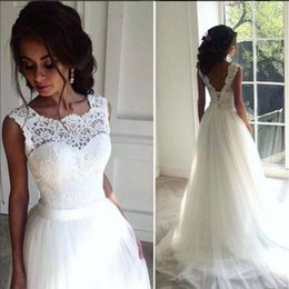 Wholesale Bridal Chic Gowns - Lace Cheap 2016 Beach Wedding Dresses Crew A-line Tulle Bridal Dresses Vintage Chic Long Wedding Gowns