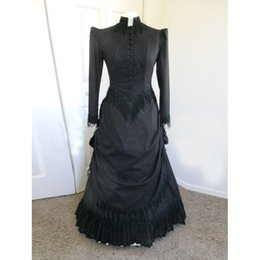Wholesale Elegant Ladies Costumes - 2016 Elegant Black Cotton Long Sleeves Vintage Victorian Bustle Ball Gowns,17 18th Century Lady Dress Costumes Free shipping