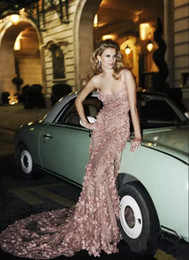 Wholesale Zuhair Murad Lace Flowers - Sexy Zuhair Murad Blush Pink Lace Evening Dresses 3D Floral Applique Mermaid Evening Gowns Spaghetti Straps Beaded Long Prom Dress