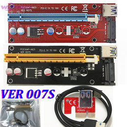 Wholesale Desktop Graphics Cards - VER 007S Red PCI-E PCI E Express 1X to 16X graphics card Riser Card SATA Molex Power Supply with USB 3.0 Cable For Bitcoin Miner
