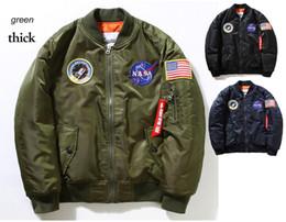 Wholesale Bamboo Batting - Free shipping Fall-Flight Pilot Jacket Coat Bomber Ma1 Men Bomber Jackets Nasa Air Force Embroidery Baseball Military Coats M-XXL