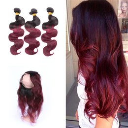 Wholesale Hair Band Extensions - Ombre Burgundy Pre Plucked 360 Lace Band Frontal With Hair Bundles Dark Root 1b 99j Body Wave Hair Extension With 360 Lace Frontal