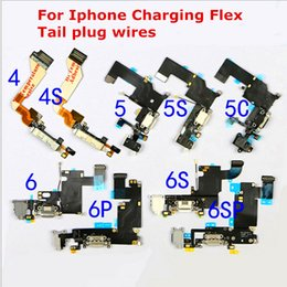Wholesale Iphone 4s Headphone Flex Cable - New Black White Gray original charging flex cable for iphone 4 4S 5 5s 6 6S 6S Plus headphone Audio Jack USB port dock connector flex cable