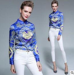 Wholesale Loose Floral Blouse - Women's Blouses Loose Elegant Long Sleeve Chiffon Blouse Tops Casual Vintage Printing Shirt Plus Size Women Clothing Blusas