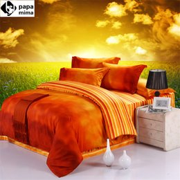 Wholesale Egyptian Cotton Sets - Wholesale-Papa&Mima Fresh Orange Sunshine Printed Queen King Size Bedlinens 100% Egyptian Cotton Fabric soft warm flat sheet sets