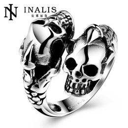 Wholesale High Quality Wedding Rings - Punk Men Ring Black Titanium Male Ring High Quality Jewelry 316L Titanium Steel Skull Rings For Men