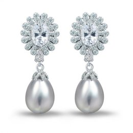 Wholesale Silver Teardrop Pearl Earrings - Women Chandelier Wedding Earring Pearl Teardrop Swarovski Stones Statement Earring Fashion And Luxury Factory Direct Wholesale E10181