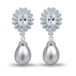 Wholesale Pearl Teardrop Dangle Earrings - Women Chandelier Wedding Earring Pearl Teardrop Swarovski Stones Statement Earring Fashion And Luxury Factory Direct Wholesale E10181