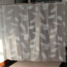 Wholesale Eva Shower Curtains - Wholesale- New Arrivel Eco-friendly Brief Fashion EVA White Leaves Waterproof Shower Curtain Home Bathroom Curtains