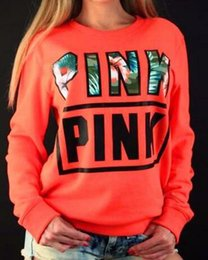 Wholesale New Fashion Women Pullover - 2017 new LOVE VS PINK Hoodies Women Fashion Solid Pink Brief Letters Print Sweatshirt women Long Sleeve O Neck moletom feminino