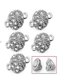 Wholesale Magnetic Balls Clasp - Silver Gold 10mm Powerful Magnetic Magnet Necklace Clasps ball Clasps for Necklace Jewelry DIY