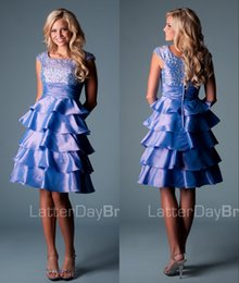Wholesale Taffeta Beaded Blue Prom Dress - Blue Modest Cocktail Dresses Short With Cap Sleeves A-line Knee Length Beaded Tiered Taffeta Lace-Up Back Juniors Informal Prom Party Dress