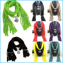 Wholesale Pashminas Pendants - Fashion pendant scarf Alloy Jewelry Scarf Necklace Polyester Scarves beach towel tassel shawl pashmina, free shipping