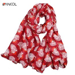 Wholesale Cheap Children Scarfs - Vancol Spring Autumn Cheap Soft Pashmina Scarves Cotton Scarf for Child Santa Claus Decor Scarf Female Christmas Chiffon Scarf su
