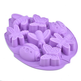 Wholesale Butterfly Dishes - Wholesale- Cake Mold 8 Hole Dragonfly Butterfly Insect Beetle Silicone Chocolate Cake Chocolate Mould DTY Baking Tools Soap Mold
